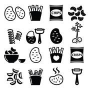 Potato, French fries, crisps, chips vector icons set Stock Illustration