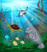 Sea animals swimming under the ocean Piirros