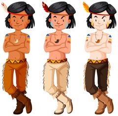 Three native american indian boys Stock Illustration