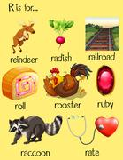 Many words begin with letter R Stock Illustration