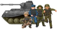 Soldiers and fighting tank Stock Illustration