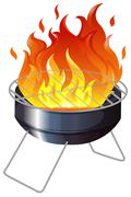 Charcoal stove with flame Stock Illustration