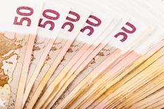 Lot of euro banknotes - stock photo