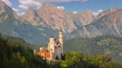 Castle Neuschwanstein in the Morning. Time Lapse 4K Stock Footage