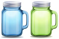 Blue and green jars with aluminum lids Stock Illustration