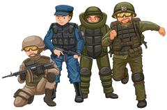 Group of soldiers with weapons Stock Illustration