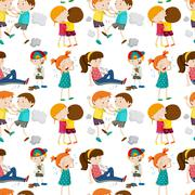 Seamless background with children in different actions Stock Illustration