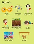 Many words begin with letter U Stock Illustration