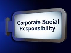 Business concept: Corporate Social Responsibility on billboard background - stock illustration