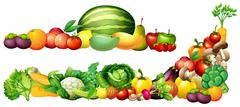 Pile of fresh vegetables and fruits Stock Illustration