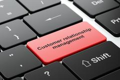 Marketing concept: Customer Relationship Management on computer keyboard - stock illustration
