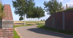 Coupure in a dike at low lying polder, Oldambt, The Netherlands Stock Footage