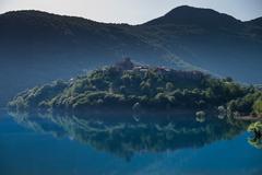 Vagli di Sotto village on Lago di Vagli, Vagli lake, Tuscany, Italy Stock Photos