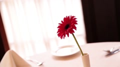 On a table restaurant with white cloth is one flower in a vase Stock Footage