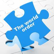 Politics concept: The World Order on puzzle background - stock illustration
