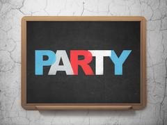 Entertainment, concept: Party on School board background - stock illustration