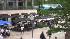 Aerial view business people walking in Canary Wharf square financial London - stock footage