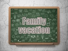 Tourism concept: Family Vacation on School board background Stock Illustration