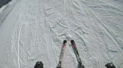 Ski descent in nature - stock footage