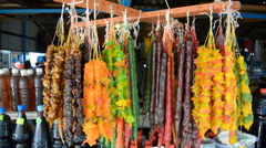 Store dried fruit in local bazaar Stock Footage