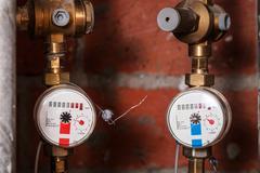 Pair new residential water meters Stock Photos