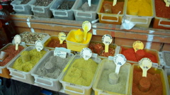 Traditional spices in local bazaar - stock footage