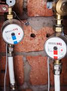 Pair new mechanical water meters Stock Photos