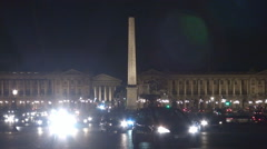 People travel by car in Place Concorde Obelisk Monument in Paris busy traffic  Stock Footage