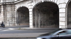 Timelapse car exit from tunnel on freeway in Paris people commute travel street Stock Footage