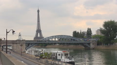Public transportation in Paris metro train pass traffic car boat Eiffel Tower  Stock Footage
