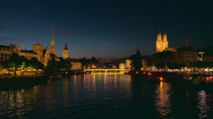 View of Zurich at Night, Switzerland, Europe Stock Footage