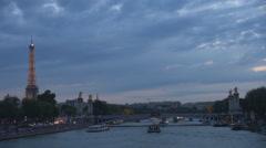 Amazing view to illuminated Eiffel Tower and Alexander Bridge in Paris twilight Stock Footage