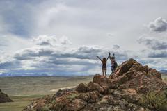 Tourists in the Altai Mountains Stock Photos