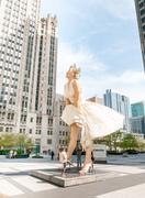 Forever Marilyn Monroe Sculpture along Michigan avenue - stock photo
