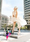 Forever Marilyn Monroe Sculpture along Michigan avenue. Stock Photos