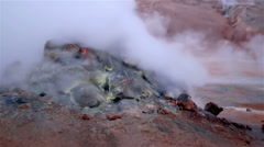 Volcanic landscape hot spring geothermal steam fumerole Myvatn Hverir Iceland Stock Footage