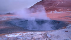 Boiling mud colorful volcanic hot spring geothermal landscape Myvatn Iceland  - stock footage