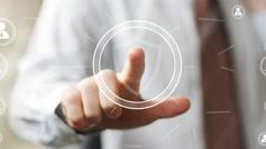 Button shield security virus fingerprint print business Stock Footage