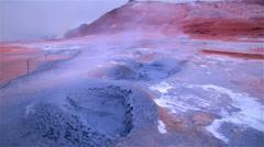 Boiling mud colorful volcanic spring geothermal landscape Myvatn Hverir Iceland Stock Footage