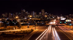 Downtown Denver at Night Wide Timelapse Stock Footage
