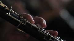 Close up of oboe being played Stock Footage