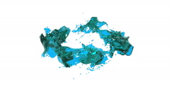 Blue liquid is forming a circle. clear liquid Stock Footage