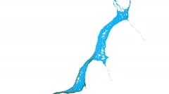 close-up view of blue splash of liquid. clear liquid - stock footage