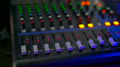 Digital sound mixer control panel in the studio Stock Footage