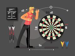 Man playing darts Stock Illustration