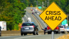 4K Crisis Ahead, Yellow Diamond Warning Sign, Traffic Alert Stock Footage