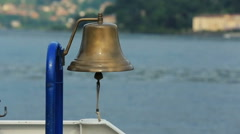 Old brass bell on the ship at sail Stock Footage