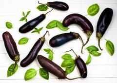 Raw Small Eggplants Stock Photos