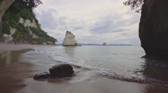 Cave at Cathedral Cove,  New Zealand Stock Footage