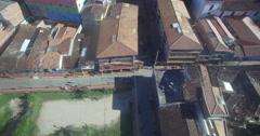 Aerial of the Plaza de los Zocalos in Guatape, Colombia Stock Footage